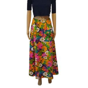 Vintage 60s Flower Power Hippie Maxi Skirt